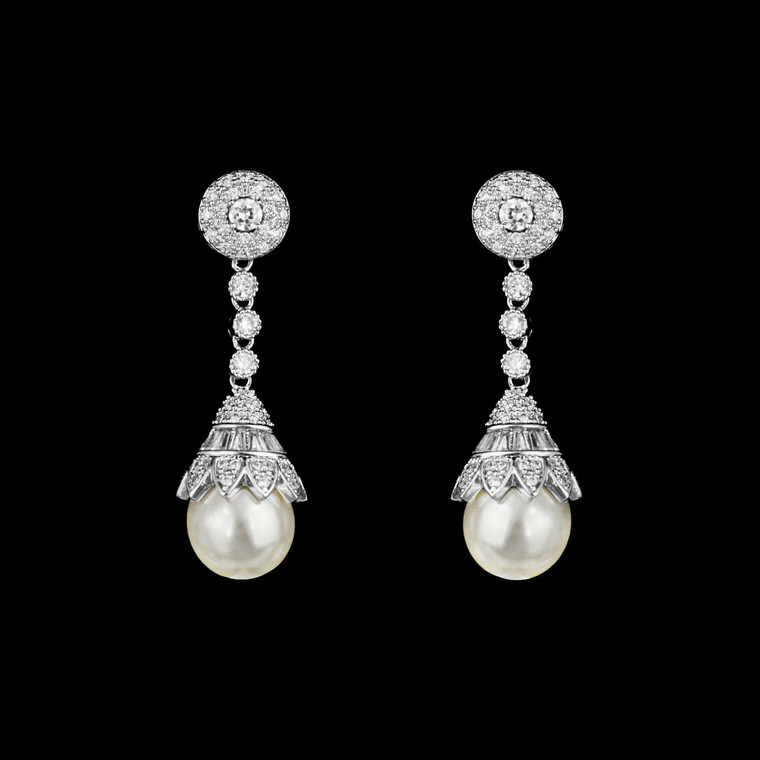 Vintage Inspired CZ and Glass Pearl Wedding Earrings