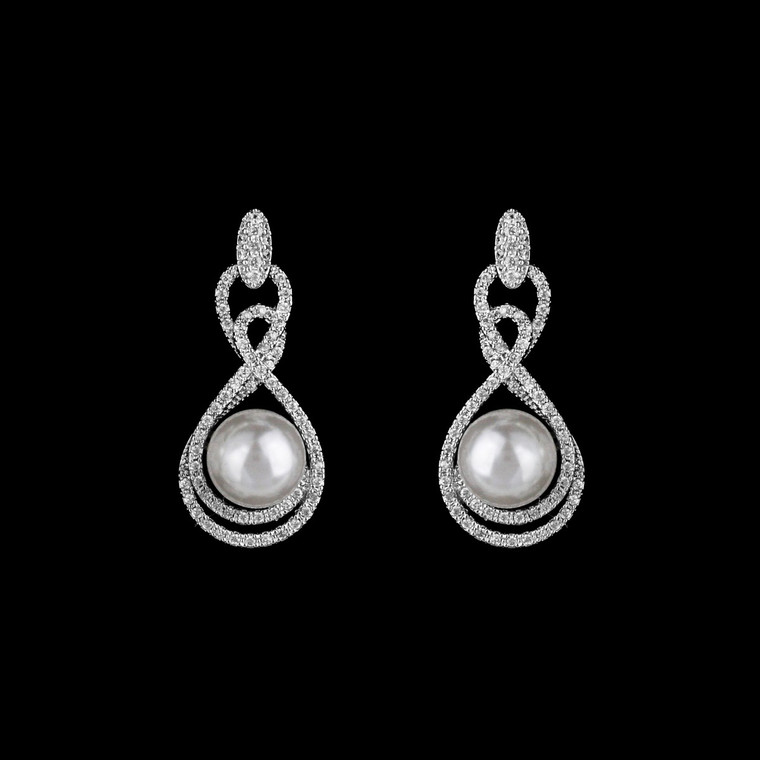 Silver Plated CZ and Pearl Drop Wedding Earrings in Pierced or Clip On