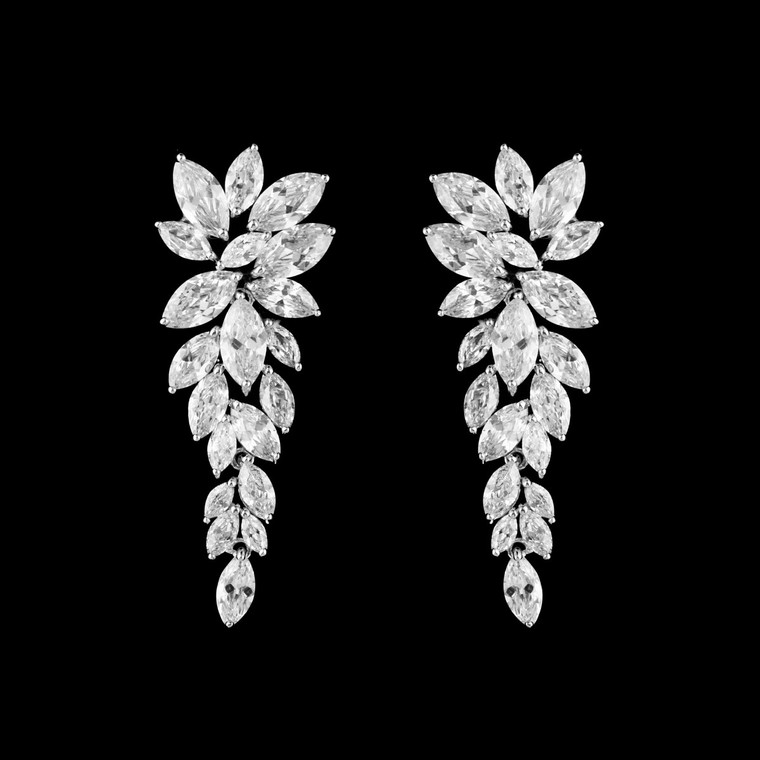 Marquise CZ Cluster Wedding Drop Earrings