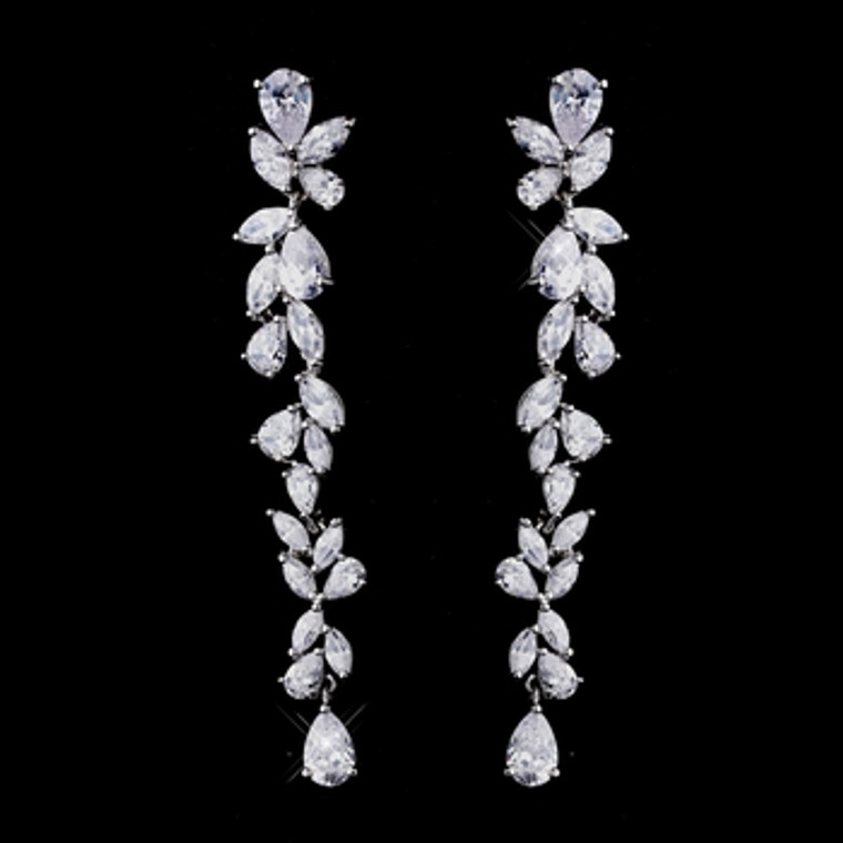 """Over 3"""" Long Cascading CZ Bridal Earrings - Silver, Gold, Rose Gold"""
