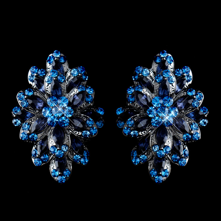 Navy and Light Blue Hematite Rhinestone Clip On Wedding Earrings