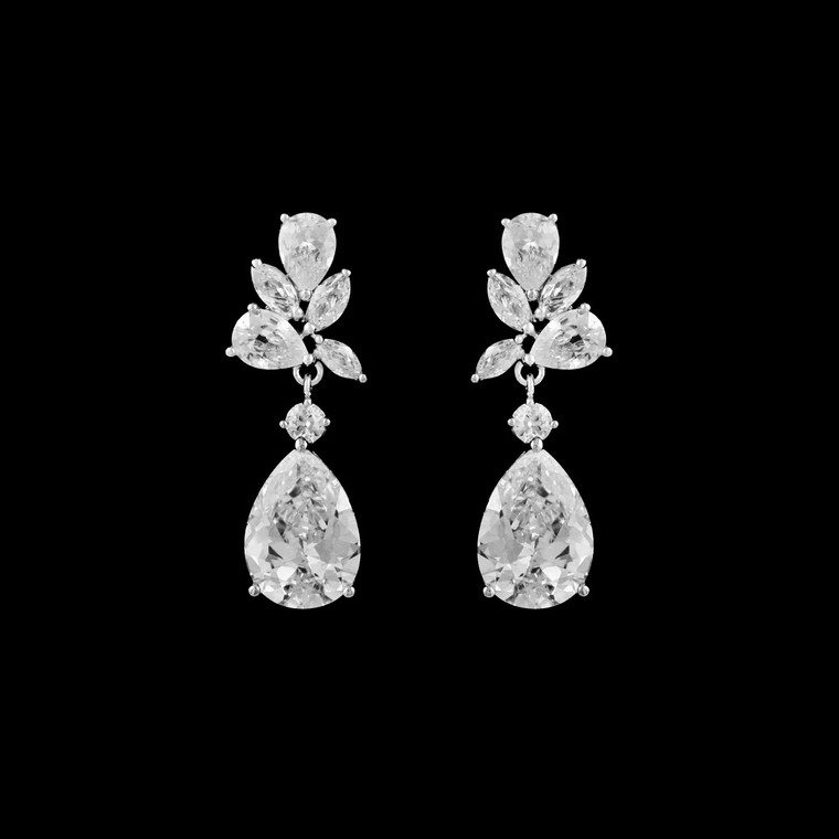 Couture Cubic Zirconia Teardrop Bridal Earrings - Silver, Gold, Rose Gold