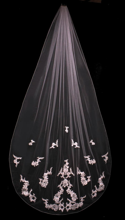 Beaded French Lace Cathedral Length Wedding Veil