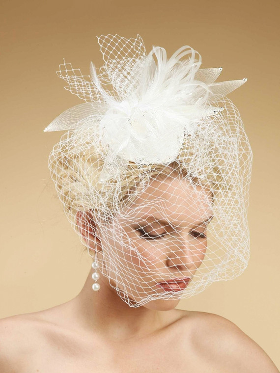White Vintage Inspired Bridal Hat with Birdcage Veil - sale!