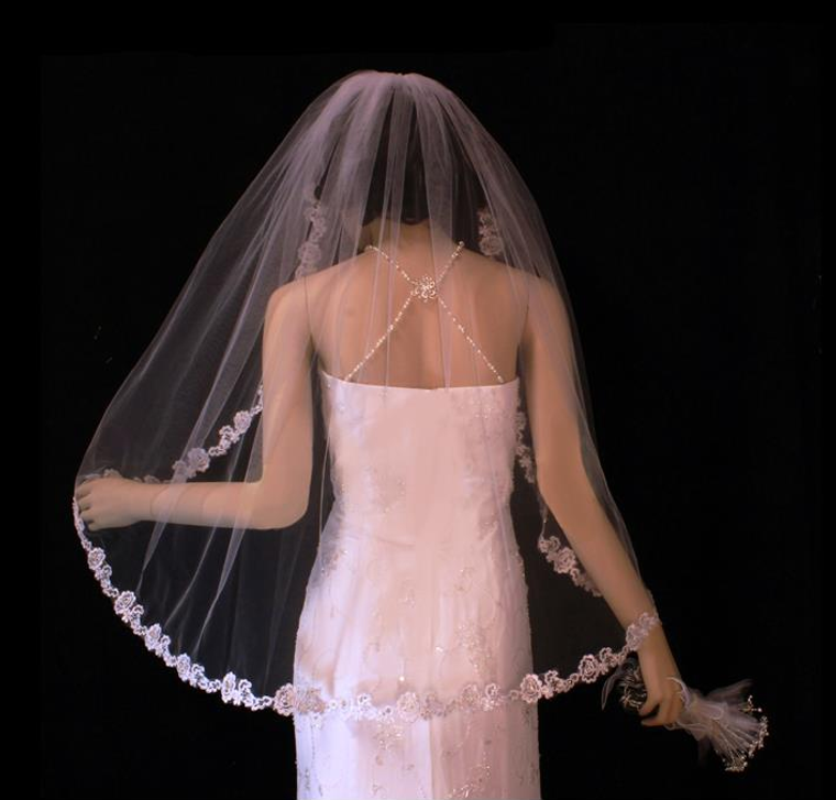 Beaded French Lace Rose Fingertip Length Wedding Veil