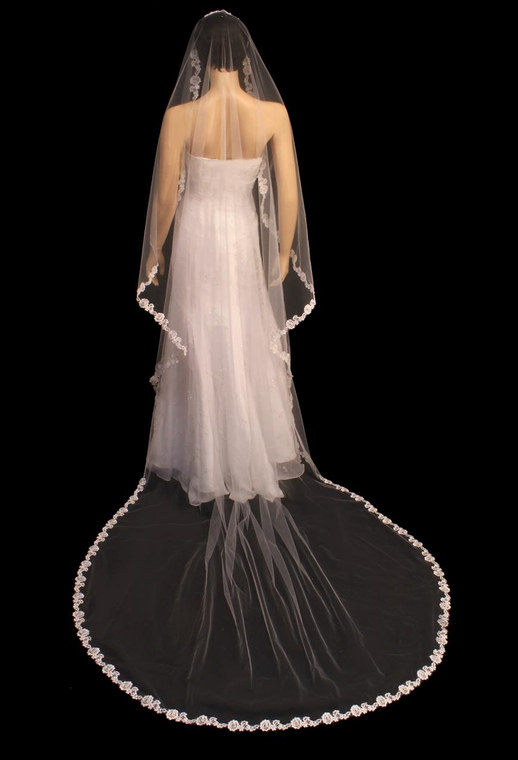 Beaded French Lace Rose Cathedral Length Wedding Veil