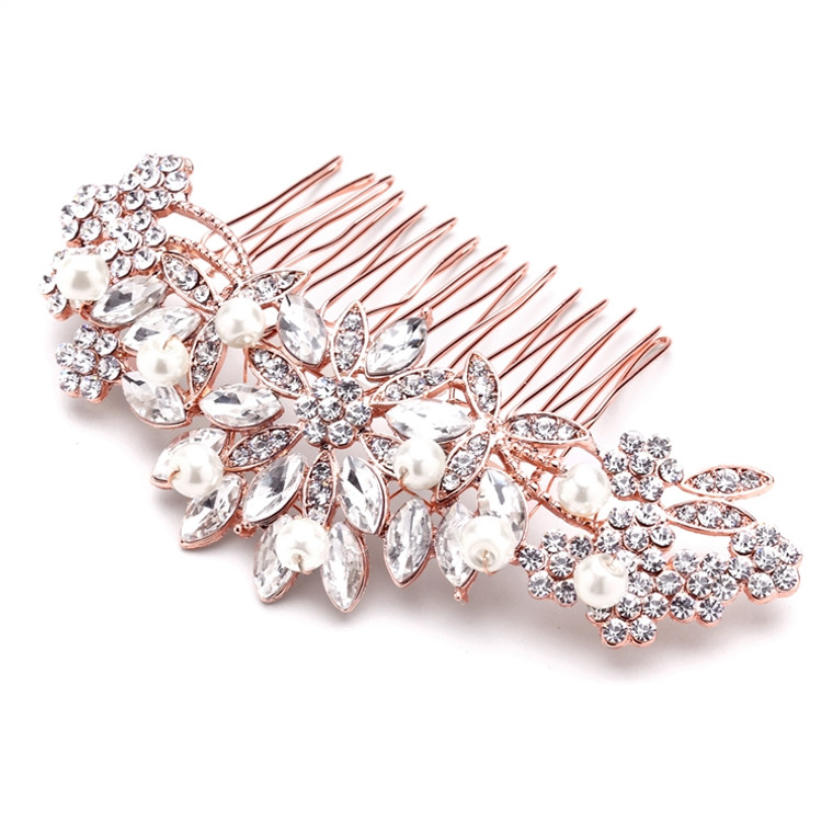 Rose Gold Plated Crystal and Pearl Floral Bridal Hair Comb