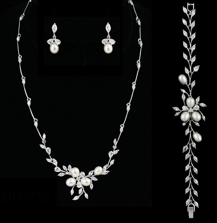 Freshwater Pearl and CZ Wedding Jewelry Set with Bracelet - sale!