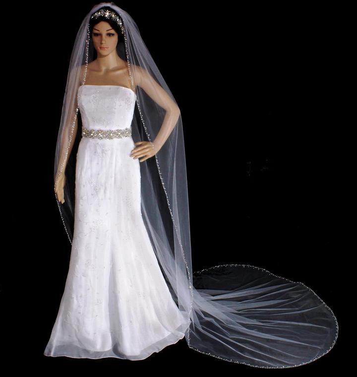 Royal Cathedral Crystal and Rhinestone Beaded  Wedding Veil V3105R