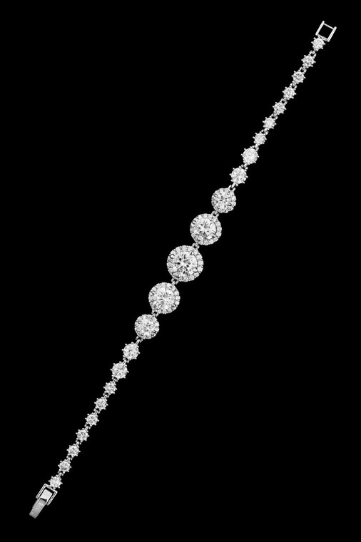 Round Pave CZ Wedding Bracelet in Silver. Gold or Rose Gold