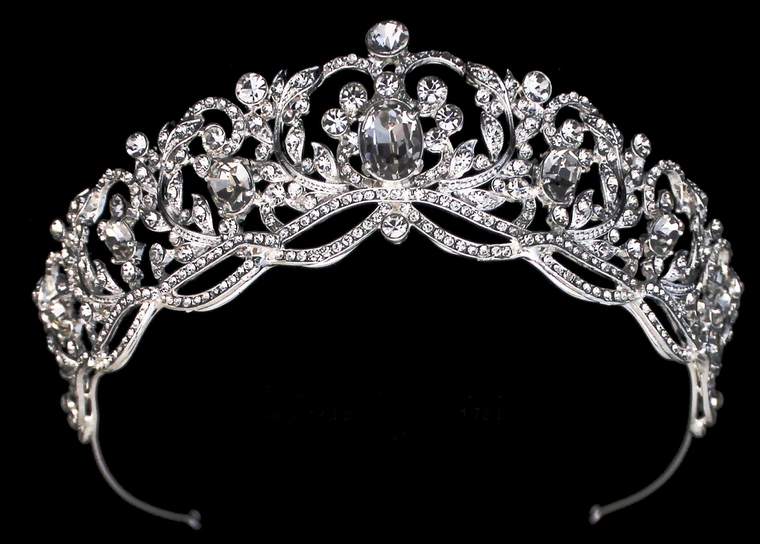 Royal Rhinestone Wedding and Quinceanera Tiara in Silver or Gold