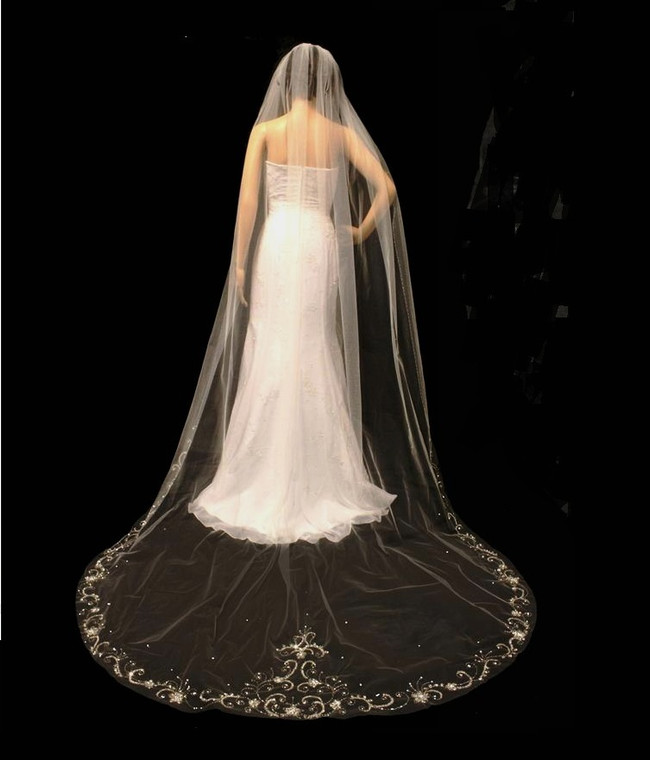 Cathedral Length Wedding Veil with Silver Beaded Crystal Edge