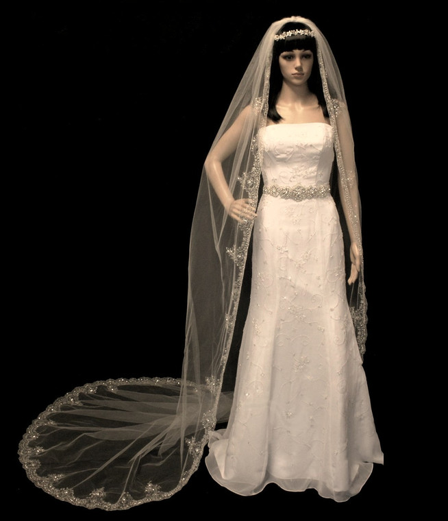 Extravagant  Beaded Gold Embroidery Cathedral Wedding Veil