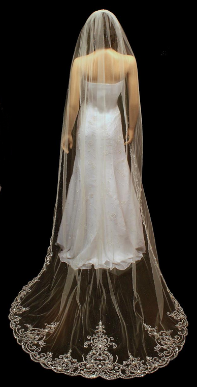 """Extra Long Regal Cathedral Length 144"""" Cathedral Wedding Veil"""