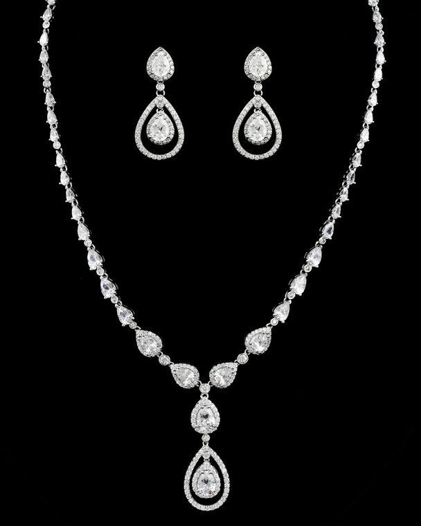 Stunning Teardrop CZ Crystal Bridal Necklace and Earring Jewelry Set