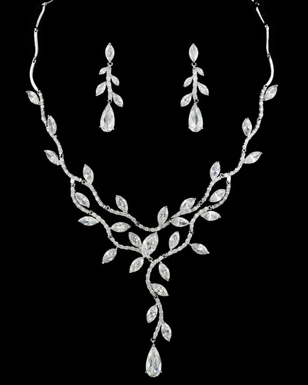 Dramatic Silver Plated CZ Vine Bridal Necklace and Earring Jewelry Set
