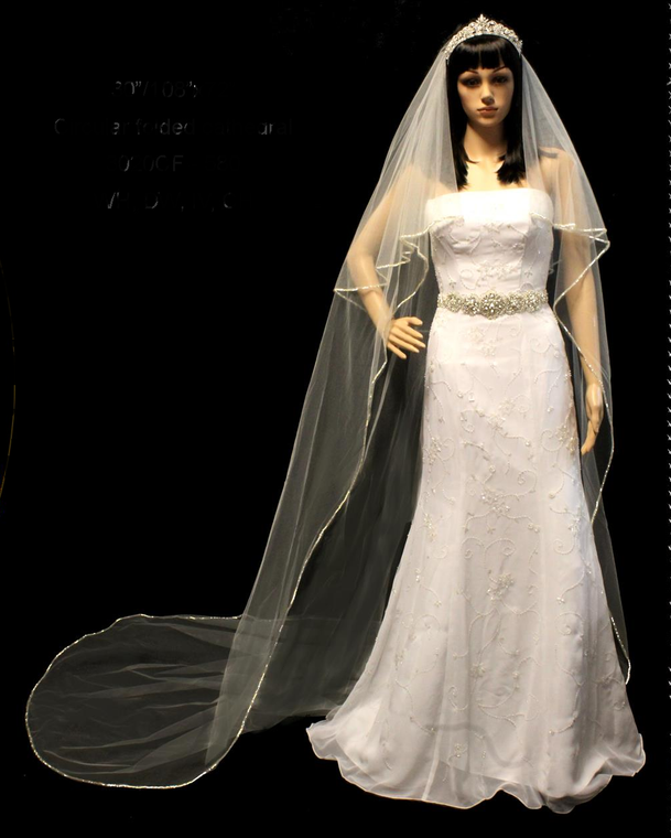 Two Layer  Cathedral Length Triple Bugle Bead Edge Wedding Veil