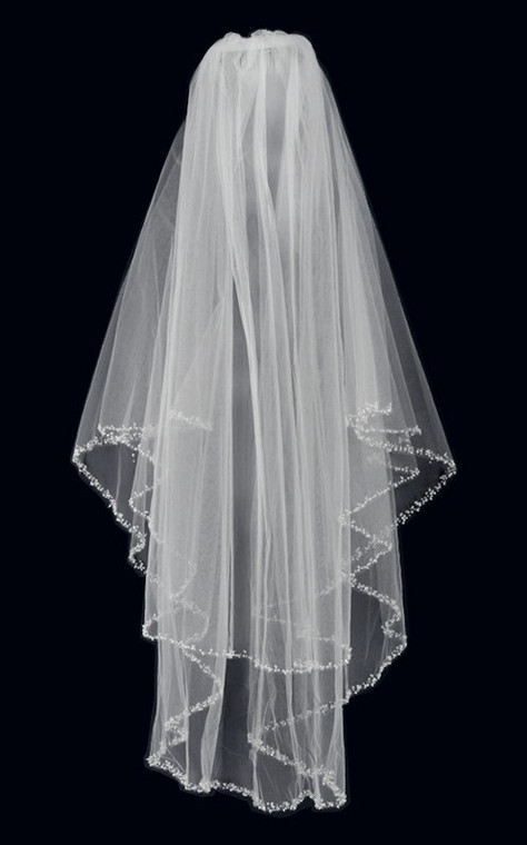 Two Layer Fingertip Length Beaded Pearl and Sequin Edge Wedding Veil