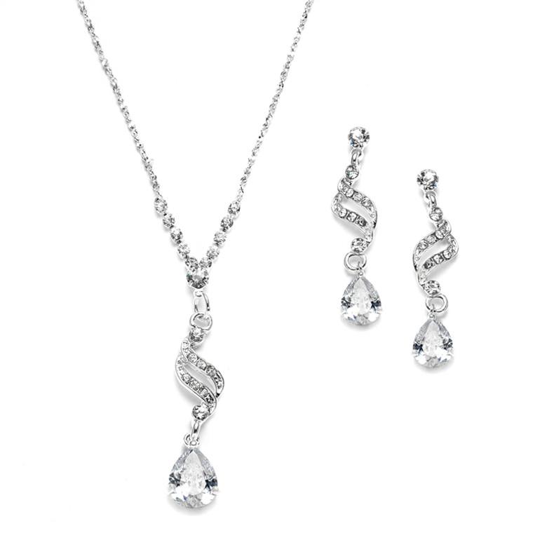 Sparkling CZ Teardrop Bridesmaid and Prom Jewelry
