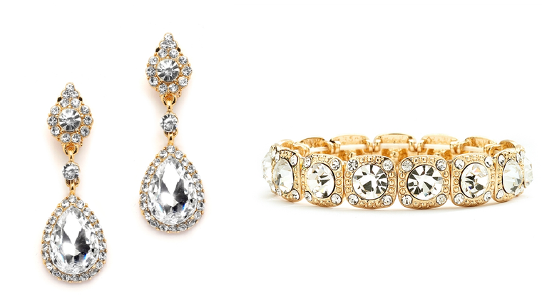 Gold Crystal Pierced or Clip on Earrings and Stretch Bracelet Set