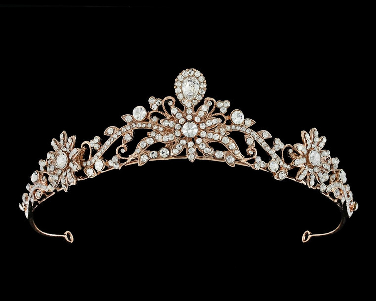 Rose Gold Plated Rhinestone Wedding  and Quinceanera Tiara
