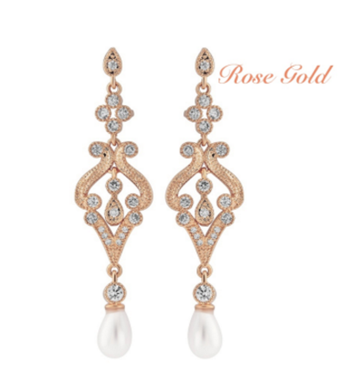 Rose Gold Vintage Style Cubic Zirconia and Pearl Wedding Earrings
