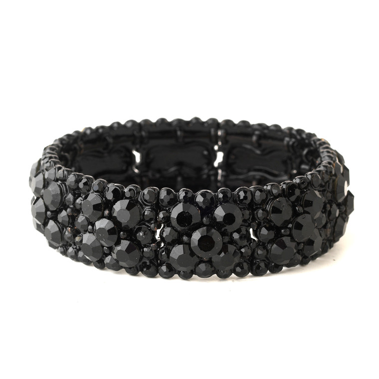 Jet Black Crystal Stretch Bracelet