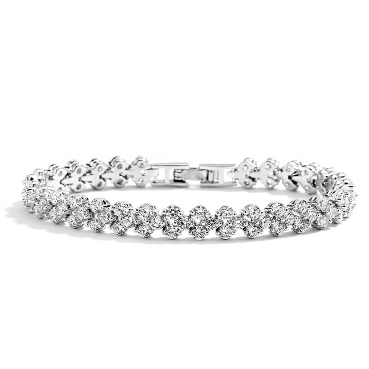 Petite  Silver Plated CZ  Wedding or Prom Tennis Bracelet