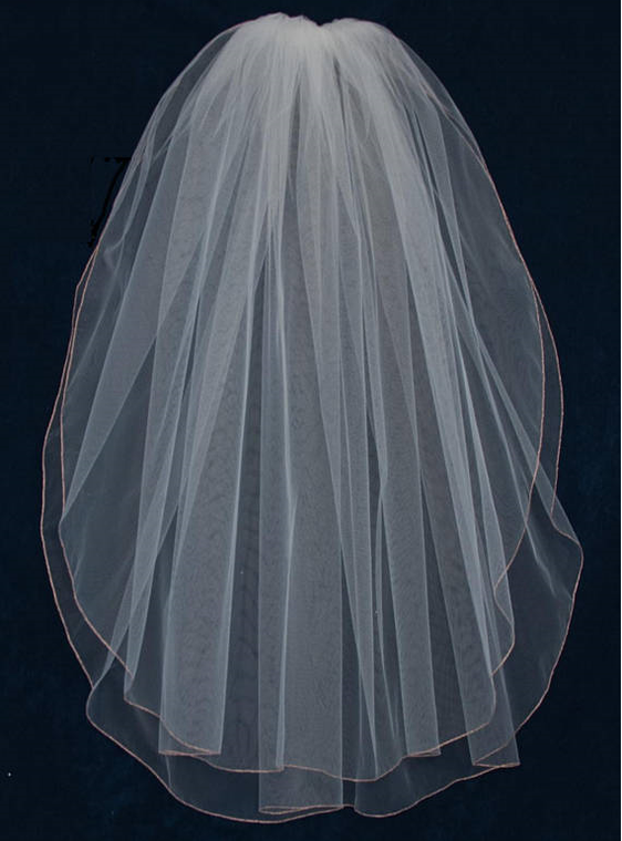 Rose Gold Embroidery Edge Two Layer Fingertip Wedding Veil