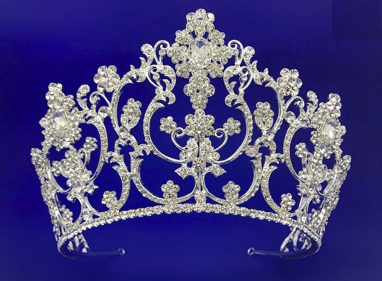 """3 3/4"""" Tall Silver or Gold  Wedding and Quinceanera Tiara"""