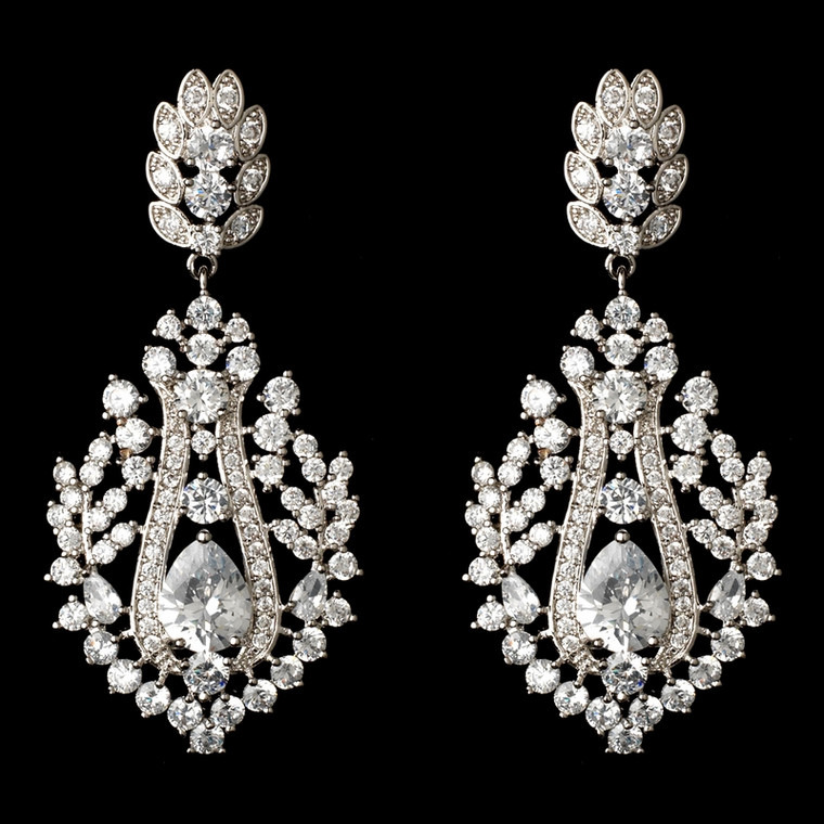 Vintage Inspired CZ Dangle Wedding and Formal Earrings