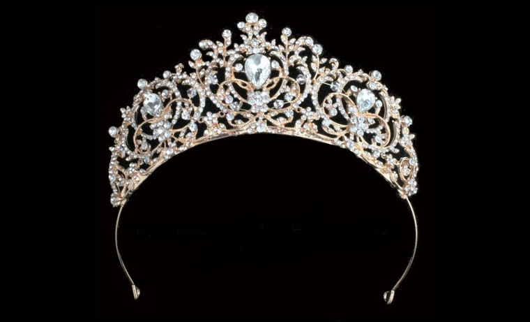 Rose Gold Plated Majestic Crystal Wedding and Quinceanera Tiara