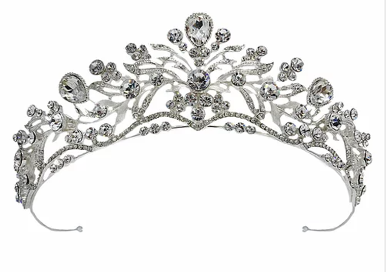 """1 3/4"""" High Scroll Wedding and Quince Tiara in Silver, Gold, Rose Gold"""
