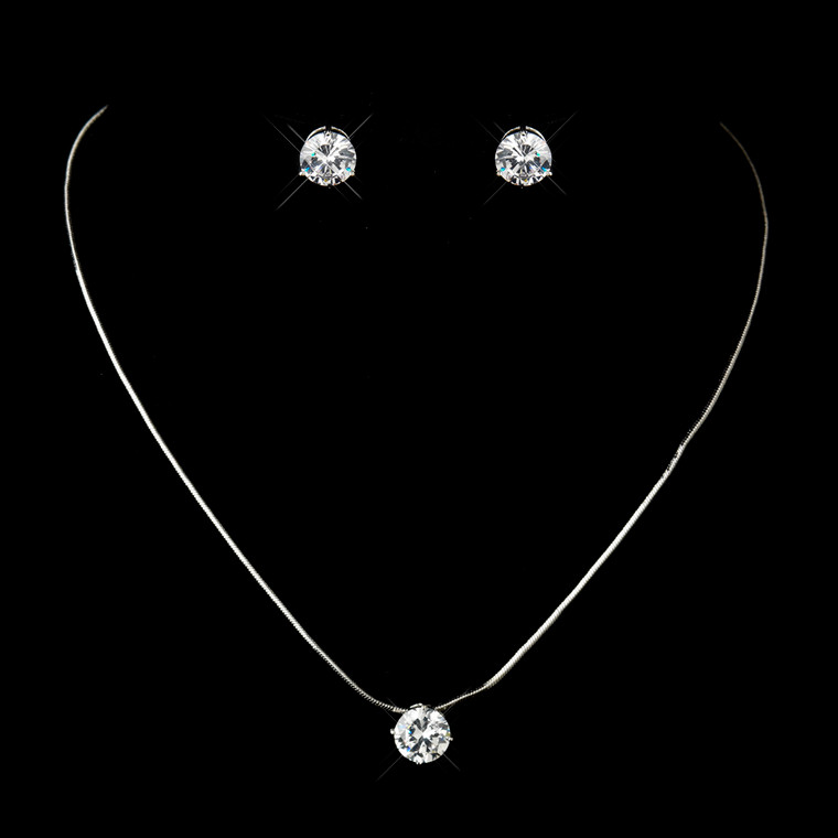 6 Sets Petite CZ Pendant and Earring Bridesmaid Jewelry