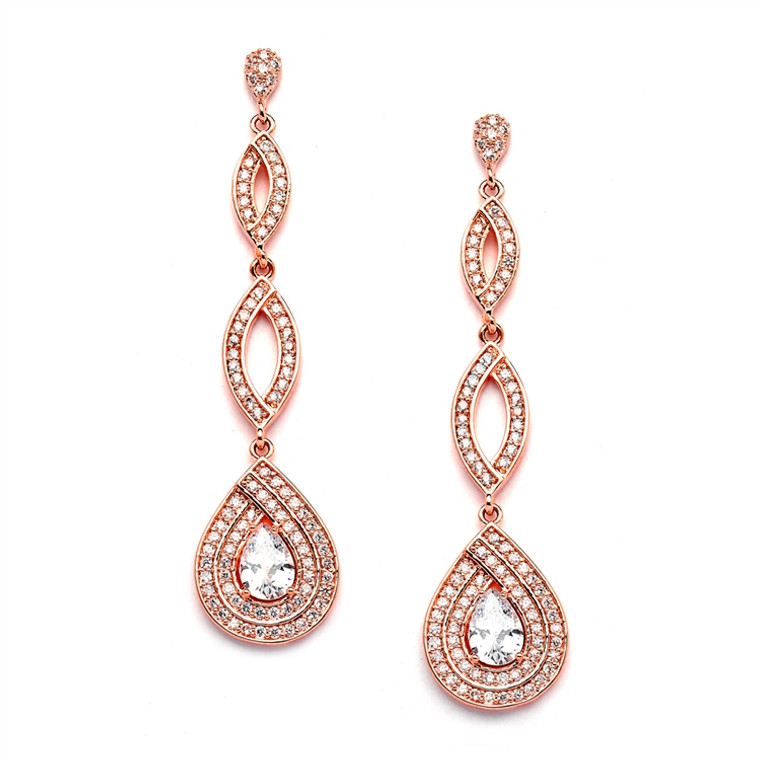 Rose Gold Micro Pave  CZ Teardrop Bridal and Prom Earrings