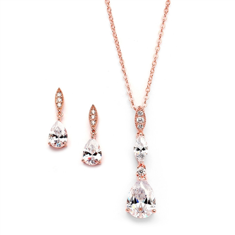 5 Sets CZ Pear Rose Gold Plated Bridesmaid Jewelry