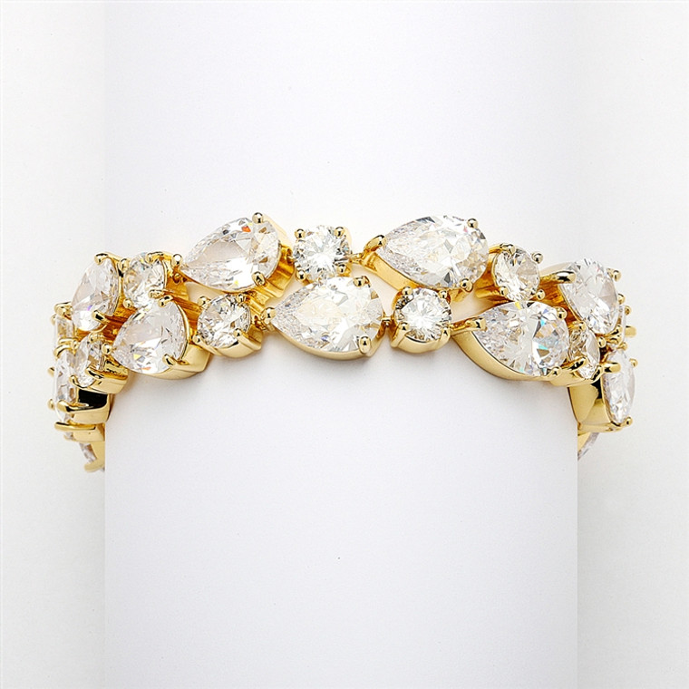 Gold Plated Bold CZ Pears and Rounds Wedding Bracelet