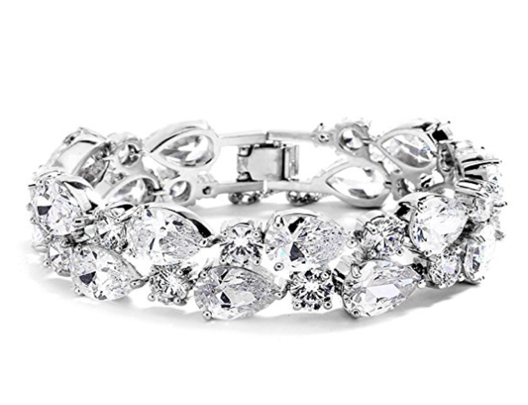 Silver Plated Bold CZ Pears and Rounds Wedding Bracelet