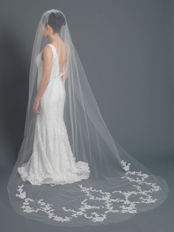 Beaded Lace Applique Cathedral Length Wedding Veil in Ivory