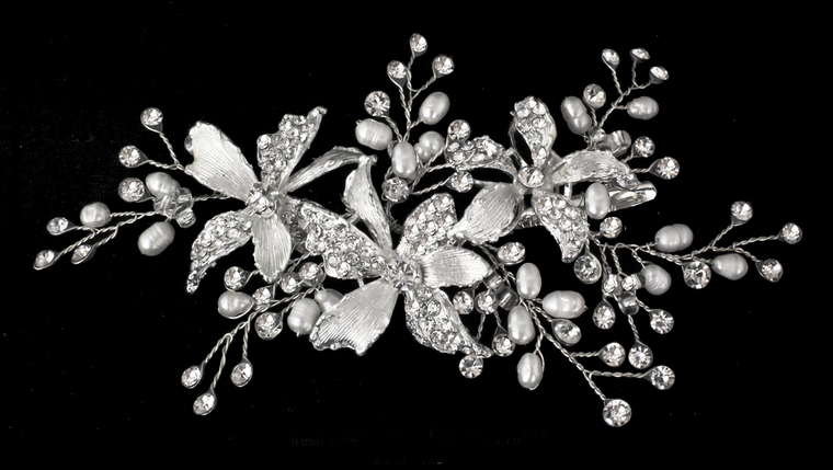 Floral Bridal Hair Clip with Freshwater Pearls and Rhinestones