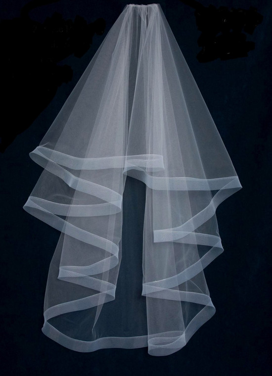 """Two Layer  60"""" Long Wedding Veil with Horsehair Trim"""