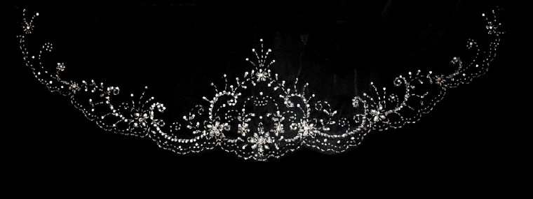 """144"""" Long Extra Width Beaded Scalloped Regal Cathedral Wedding Veil"""