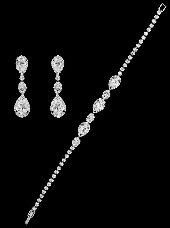 CZ Wedding Bracelet and Earrings Set - Silver, Gold, or Rose Gold