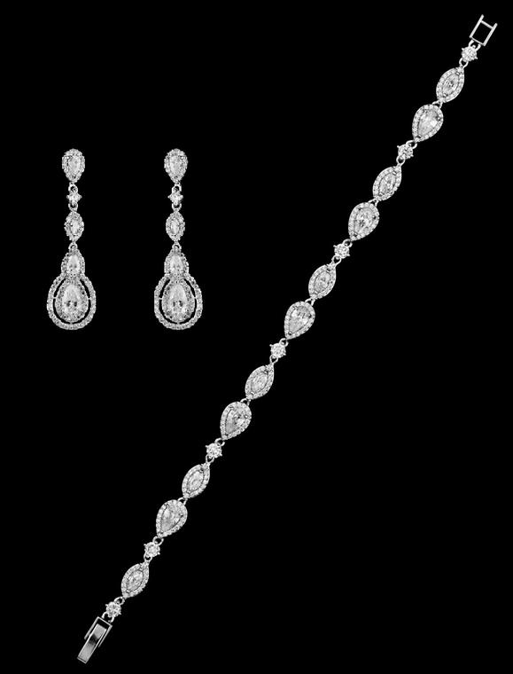 Vintage CZ Wedding Bracelet  and Earring Set - Silver, Gold or Rose Gold