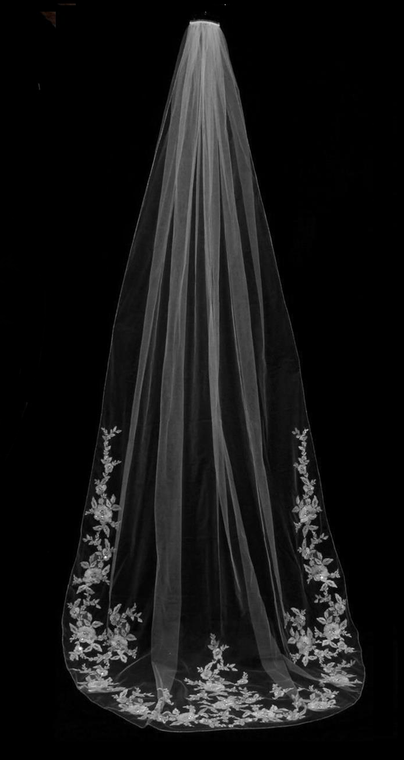 Cathedral Length Wedding Veil with Partial Floral Rose Embroidery