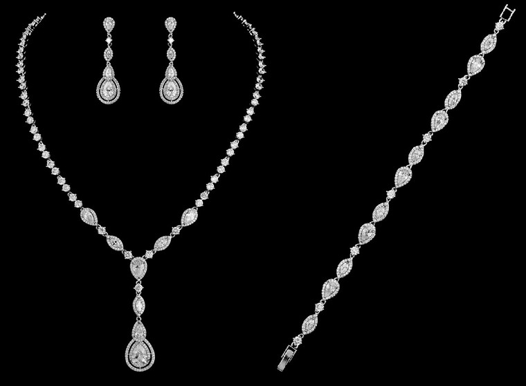 Vintage Look CZ Bridal Jewelry Set with Bracelet - Silver or Gold