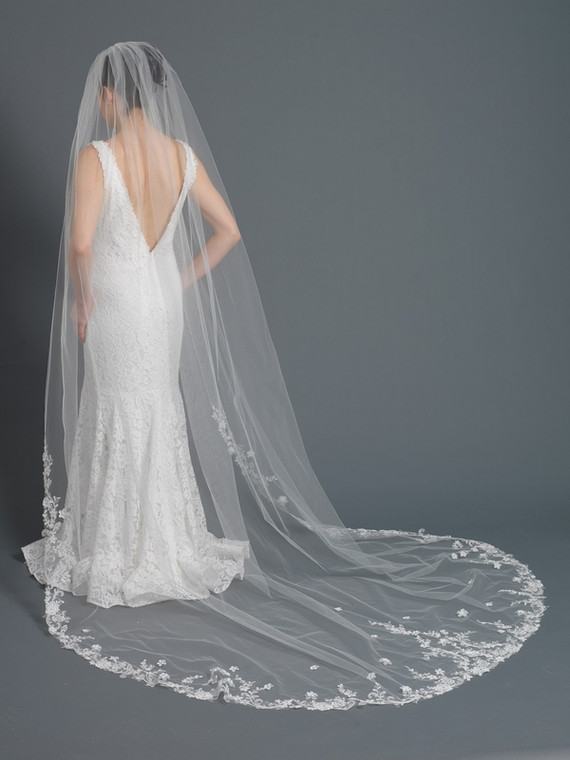 Cathedral Length Wedding Veil with Beaded Floral Embroidery