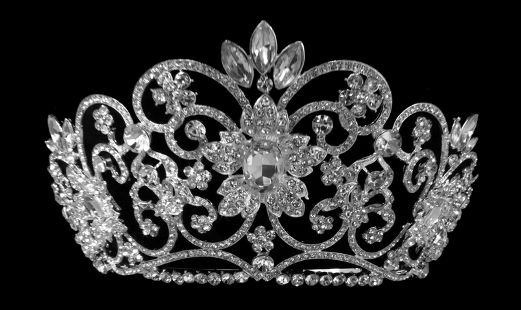 """3.75"""" Tall Majestic Wedding and Quinceanera Tiara in Silver or Gold"""