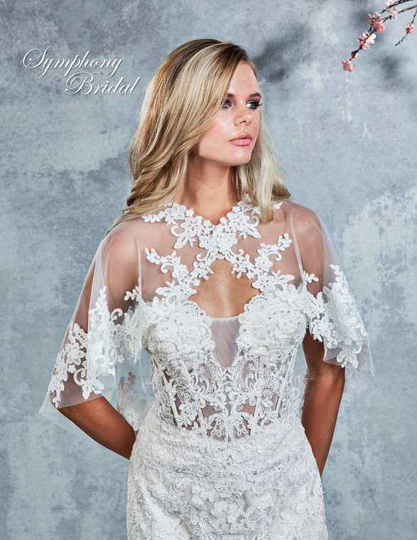 Lace and Tulle Wedding Cape Symphony Bridal CP100