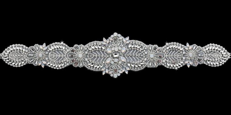 Rhinestone  and White Opal Beaded Wedding Belt Envogue BT1885